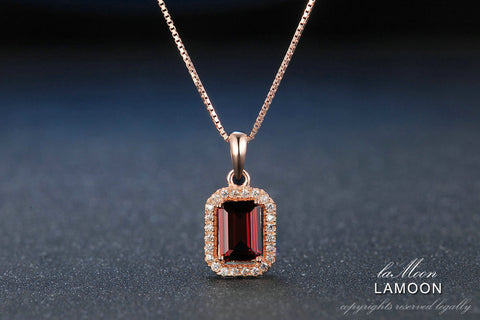 Lamoon 1.1ct Natural Red Garnet 925 Sterling Silver Chain Pendant Necklace