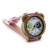 BOBO BIRD Wood Wristwatch with PU Leather Strap for Kids