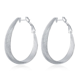 925 Sterling silver filled chunky ladies oval Hoops 12mm wide - Cardina Jewels - 1