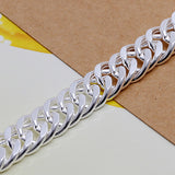 925 Silver Filled, plain design link bracelet +-8mm wide - Cardina Jewels - 3