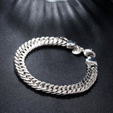 925 Silver Filled, plain design link bracelet +-8mm wide - Cardina Jewels - 4