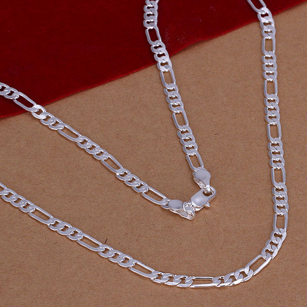 925 Silver filled Figaro design necklace, 61cm long - Cardina Jewels - 1