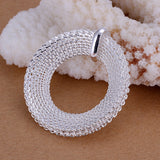 925 Silver filled Circle mesh design pendant with Free chain included - Cardina Jewels - 2