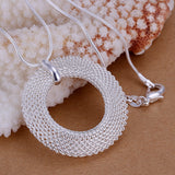 925 Silver filled Circle mesh design pendant with Free chain included - Cardina Jewels - 3
