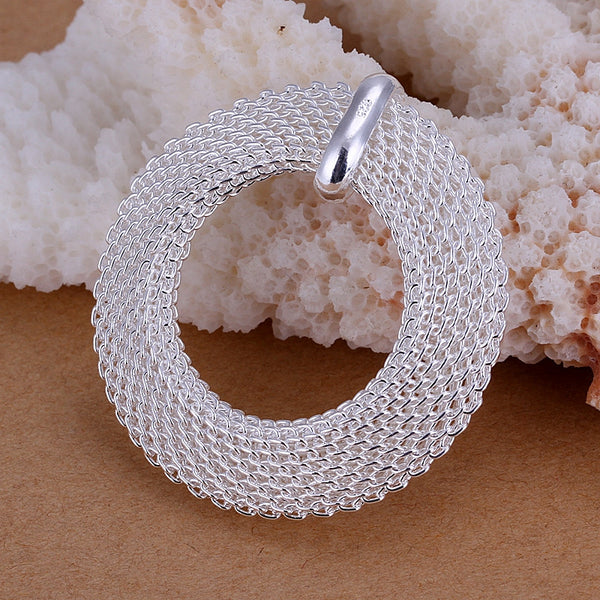 925 Silver filled Circle mesh design pendant with Free chain included - Cardina Jewels - 1