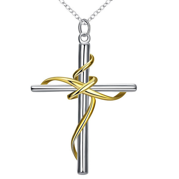 925 Sterling SIlver filled Draped Cross Pendant + Free Chain - Cardina Jewels - 1