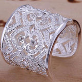 925 Sterling Silver filled stamped Chunky 20mm ladies ring with high detail work - Cardina Jewels - 3