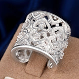 925 Sterling Silver filled stamped Chunky 20mm ladies ring with high detail work - Cardina Jewels - 4