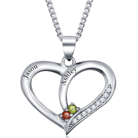 Personalized Solid Silver Heart pendant with red and yellow CZ stones - Cardina Jewels - 1