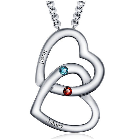 Personalized Solid Silver double Heart pendant with red and blue CZ stones - Cardina Jewels - 1