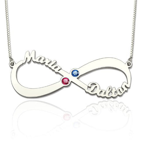 Personalized Name Necklace, Infinity with 2 names and Choice of birthstone, Gold or Silver - Cardina Jewels - 1