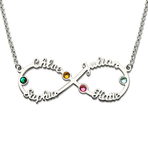 Personalized Name Necklace, Infinity with 4 names and Choice of birthstone, Gold or Silver - Cardina Jewels - 1