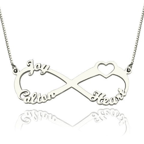 Personalized Name Necklace, Infinity with Heart detail, Gold or Silver - Cardina Jewels - 1