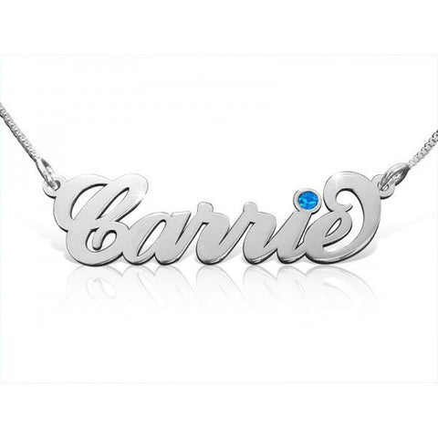 Personalized Name Necklace with Choice of Birthstone - Cardina Jewels