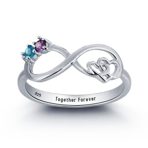 Personalized Solid Silver Ring, Infinity hearts design with blue and purple CZ stones - Cardina Jewels - 1