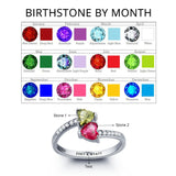 Personalized Solid Silver Ring, Dual Heart design with Choice of Birthstone colors - Cardina Jewels - 2