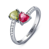 Personalized Solid Silver Ring, Dual Heart design with Choice of Birthstone colors - Cardina Jewels - 3