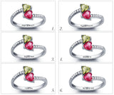 Personalized Solid Silver Ring, Dual Heart design with Choice of Birthstone colors - Cardina Jewels - 5