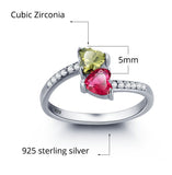 Personalized Solid Silver Ring, Dual Heart design with Choice of Birthstone colors - Cardina Jewels - 6
