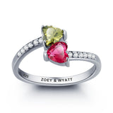 Personalized Solid Silver Ring, Dual Heart design with Choice of Birthstone colors - Cardina Jewels - 1