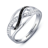 Personalized Solid Silver Ring, Weaved design with black and clear CZ stones - Cardina Jewels - 2