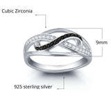 Personalized Solid Silver Ring, Weaved design with black and clear CZ stones - Cardina Jewels - 3