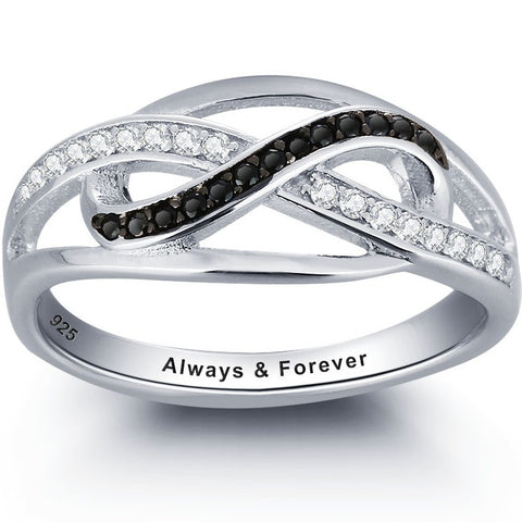Personalized Solid Silver Ring, Weaved design with black and clear CZ stones - Cardina Jewels - 1