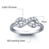 Personalized Solid Silver Ring, Infinity design with clear CZ stones - Cardina Jewels - 2
