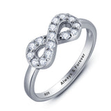 Personalized Solid Silver Ring, Infinity design with clear CZ stones - Cardina Jewels - 3