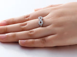 Personalized Solid Silver Ring, Infinity design with clear CZ stones - Cardina Jewels - 5