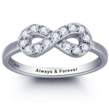 Personalized Solid Silver Ring, Infinity design with clear CZ stones - Cardina Jewels - 1