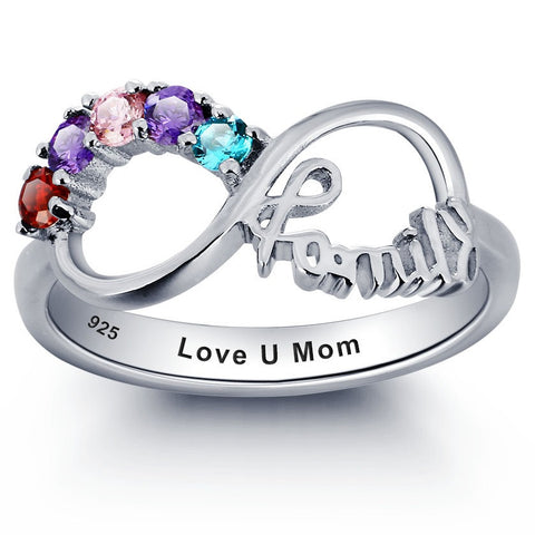 Personalized Solid Silver Ring, Infinity Family design with choice of Birthstones - Cardina Jewels - 1