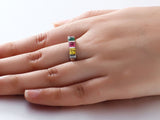 Personalized Solid Silver Ring, Chunky colorful design with mixed CZ stones - Cardina Jewels - 4