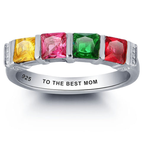 Personalized Solid Silver Ring, Chunky colorful design with mixed CZ stones - Cardina Jewels - 1