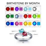 Personalized Solid Silver Ring, Joined Hearts design with Choice of Birthstone colors - Cardina Jewels - 2