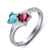 Personalized Solid Silver Ring, Joined Hearts design with Choice of Birthstone colors - Cardina Jewels - 3