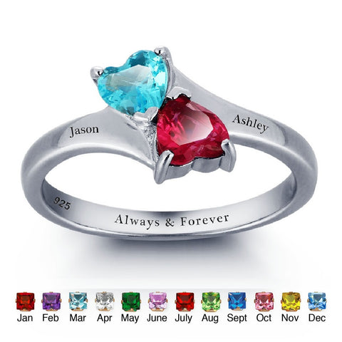 Personalized Solid Silver Ring, Joined Hearts design with Choice of Birthstone colors - Cardina Jewels - 1
