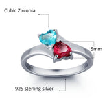Personalized Solid Silver Ring, Joined Hearts design with Choice of Birthstone colors - Cardina Jewels - 4