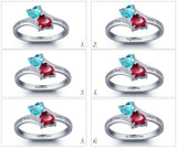 Personalized Solid Silver Ring, Joined Hearts design with Choice of Birthstone colors - Cardina Jewels - 6