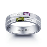 Personalized Solid Silver Ring, dual name design with blue and green CZ stones - Cardina Jewels - 2