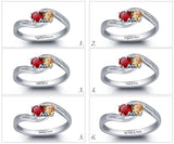 Personalized Solid Silver Ring, Twist design with Choice of Birthstone colors - Cardina Jewels - 4