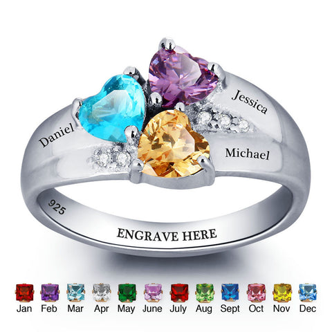 Personalized Solid Silver Ring, Chunky 3 name design with Choice of Birthstones color - Cardina Jewels - 1