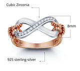Personalized Solid Sterling Silver Infinity Ring with 18K GP detail - Cardina Jewels - 4