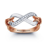 Personalized Solid Sterling Silver Infinity Ring with 18K GP detail - Cardina Jewels - 1