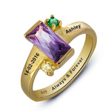 Personalized Solid Silver Ring with 18K yellow gold RGP and Purple 3ct CZ - Cardina Jewels - 2