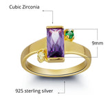 Personalized Solid Silver Ring with 18K yellow gold RGP and Purple 3ct CZ - Cardina Jewels - 3