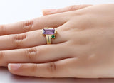 Personalized Solid Silver Ring with 18K yellow gold RGP and Purple 3ct CZ - Cardina Jewels - 4
