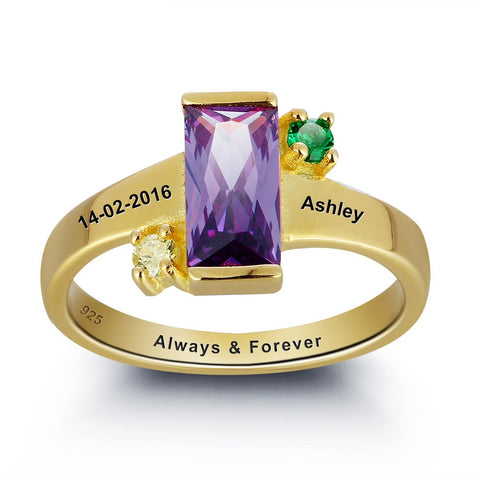 Personalized Solid Silver Ring with 18K yellow gold RGP and Purple 3ct CZ - Cardina Jewels - 1