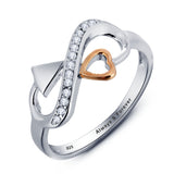 Personalized Solid Sterling Silver Infinity Ring with 18K GP heart detail - Cardina Jewels - 2