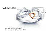 Personalized Solid Sterling Silver Infinity Ring with 18K GP heart detail - Cardina Jewels - 3